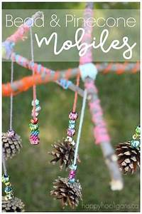 beautiful pinecone and bead mobile craft for