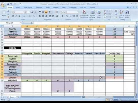 spreadsheet modeling tutorials supply network planning