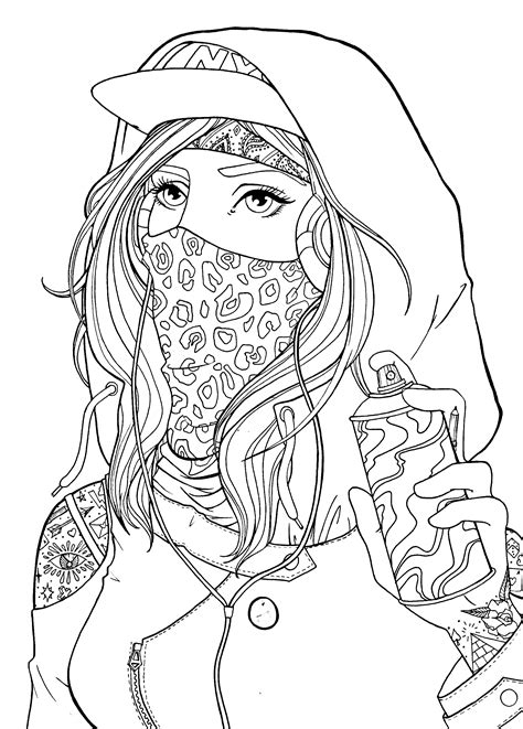 graffiti girl drawing lineart bad girls color