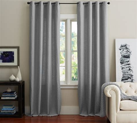 emery linen grommet drape 50 x 63 curtains rugs gray grey and pottery
