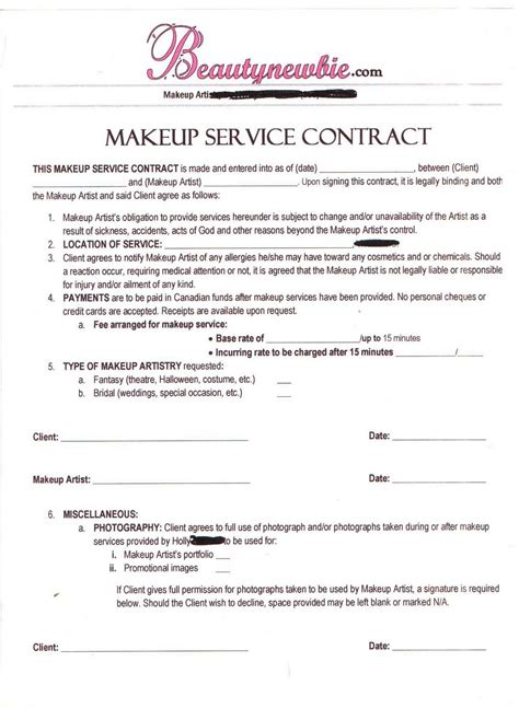 makeup artist contract form wedding hair stylist contract agreement