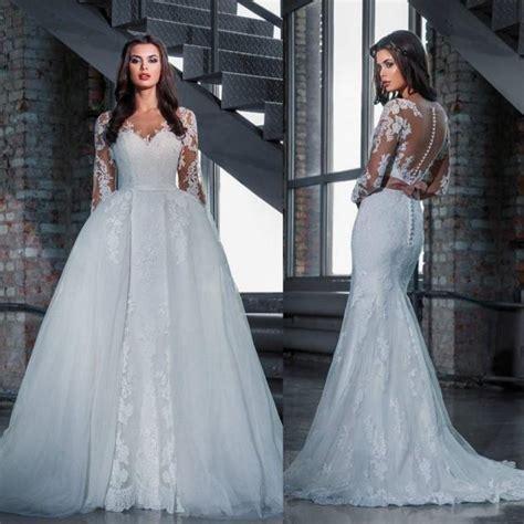 fashion lace wedding dresses  detachable skirt