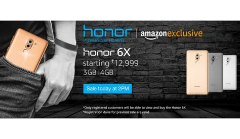 huawei honor  flash sale  gb variant today  pm