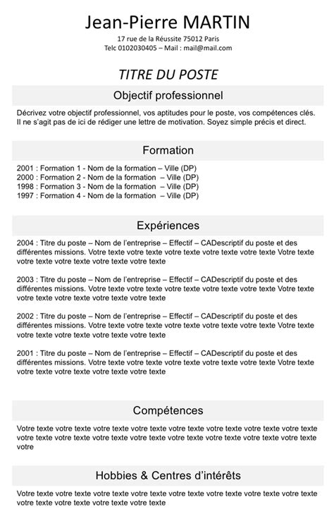 Exemple De Cv En Ligne by Exemple De Cv En Ligne Gratuit 224 T 233 L 233 Charger