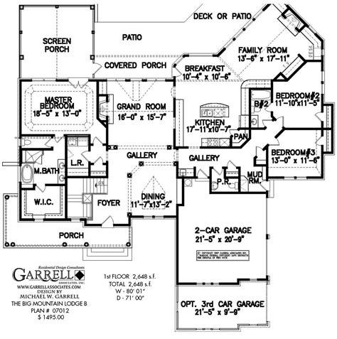 big house floor plans big mountain lodge b house plan house plans by garrell