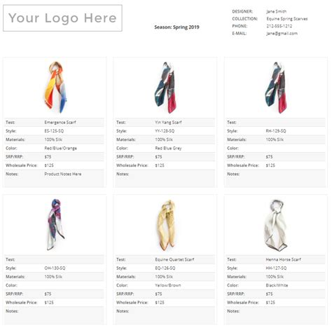 wholesale line sheet template startup fashion