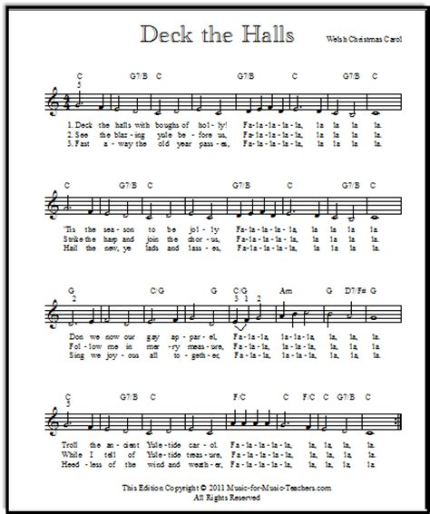 Deck The Halls Guitar Tab Chords by Deck The Halls Lead Sheet For All Instruments For