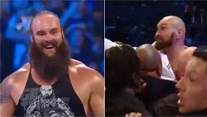 'You dosser!' Tyson Fury jumps barricade in shock WWE ...