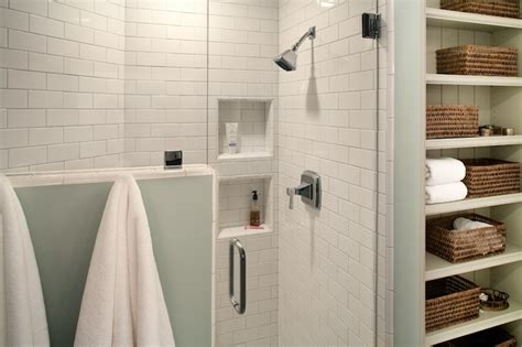 subway tile shower cottage bathroom rustic rooster