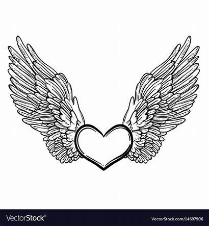 Wings Angel Heart Vector Line Royalty Vectorstock