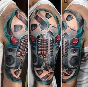 60 Music Sleeve Tattoos For Men - Lyrical Ink Design Ideas