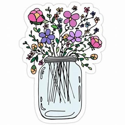 Stickers Sticker Mason Jar Redbubble Flowers Bubble