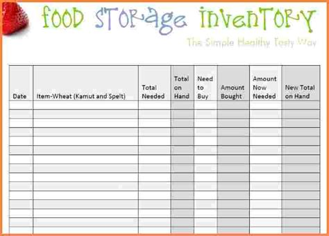 food inventory spreadsheet template excel