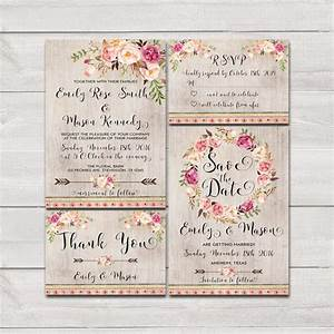 floral bohemian wedding invitation printable wedding With free printable boho wedding invitations
