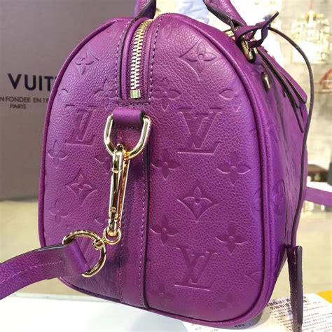 lv purple  speedy  louis vuitton  bag monogram real leather handbag qingfeng