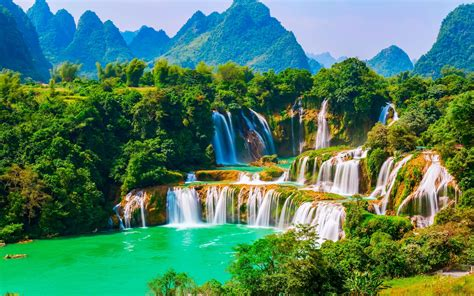 ban gioc detian falls vietnam  ultrahd wallpaper