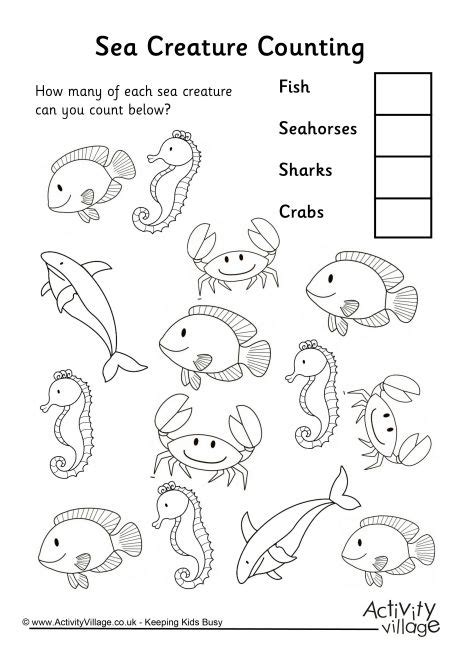 sea animals worksheets for preschoolers sea creature counting 3 614