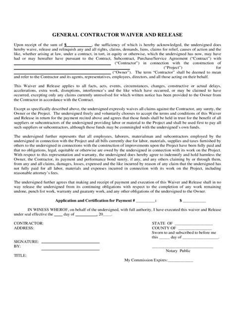 general release form florida contractor liability waiver form 2 free templates in pdf