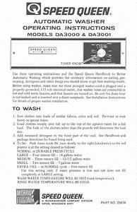 Speed Queen Washer Da3001 User Guide