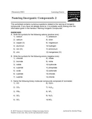Inorganic Nomenclature Worksheet Worksheets For All  Download And Share Worksheets  Free On
