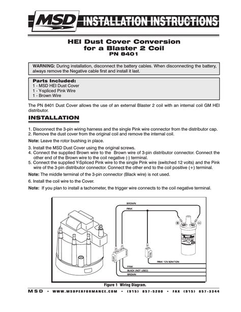 msd 8401 modified hei coil dust cover v8 installation user manual 2 pages