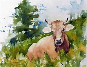Kuh Bilder Auf Leinwand : bild aquarell tiere kuh weide von felischa bei kunstnet ~ Whattoseeinmadrid.com Haus und Dekorationen