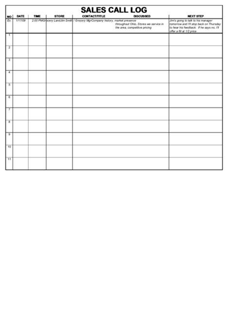 sales call log template printable pdf download