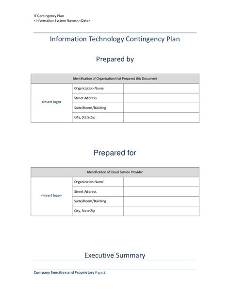 contingency plan templates template samples