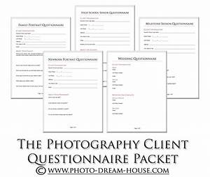 Photography client questionnaire packet photographer39s for Wedding photography client questionnaire pdf