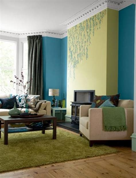 Brown Blue And Green Living Room Ideas  House Decor Picture
