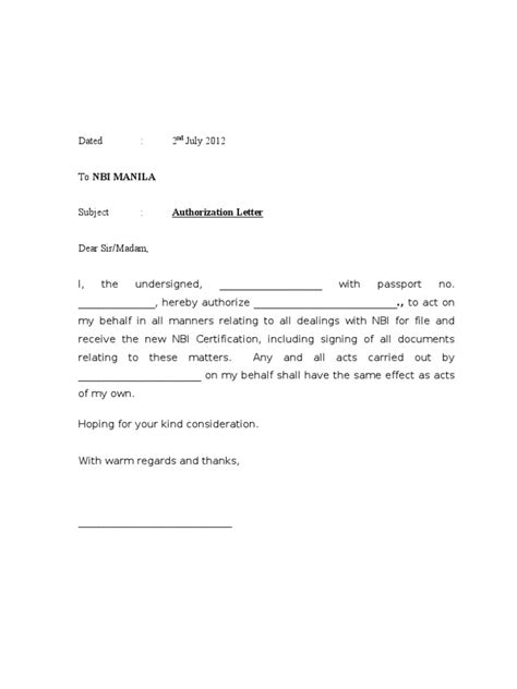 simple authorization letter format images letter samples