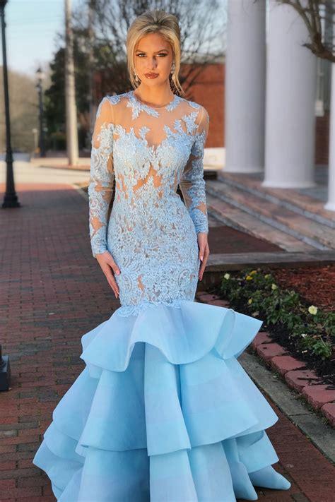 Elegant Long Sleeves Mermaid Blue Long Prom Dress With