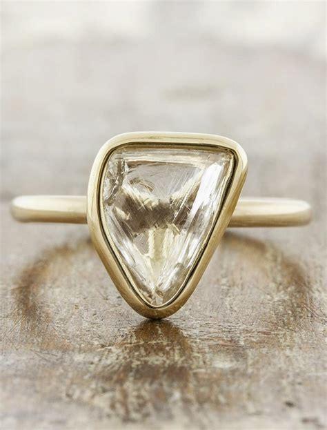 omie organic shaped uncut diamond bezel setting ring