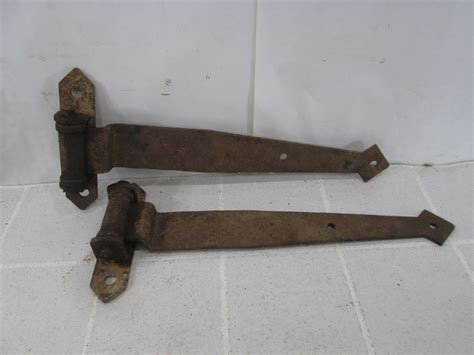 2 Vintage Heavy Duty Iron Strap Barn Door Hinges #h45