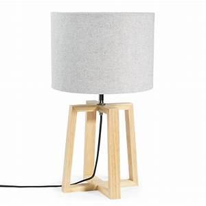 Lampe Cuivre Maison Du Monde : lampe en bois et tissu gris h 44 cm hedmark maisons du monde ~ Teatrodelosmanantiales.com Idées de Décoration