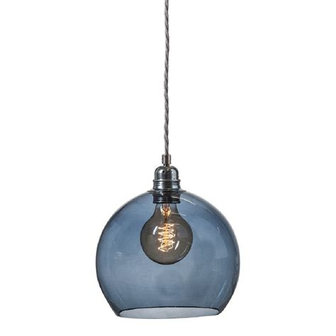 blue transparent glass globe ceiling pendant with