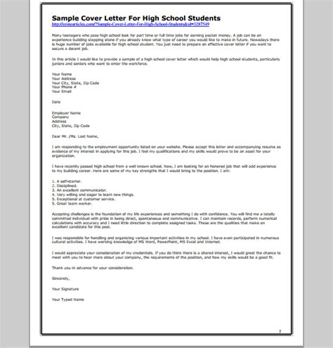 cover letter template  student template  student