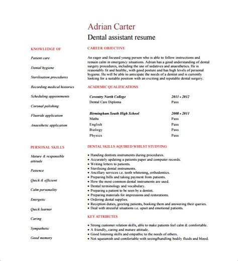 dental assistant resume templates word psd ai