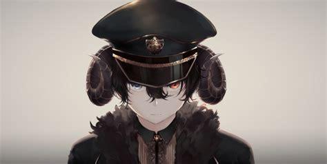 wallpaper anime boy creepy horns hat uniform