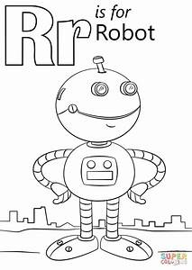 Letter R Is For Robot Coloring Page
