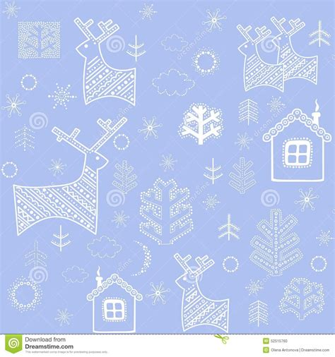 papier peint bleu d hiver avec des rennes illustration de