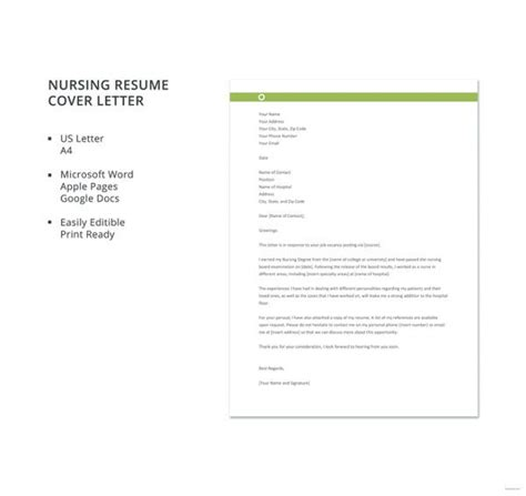 nursing cover letter    word
