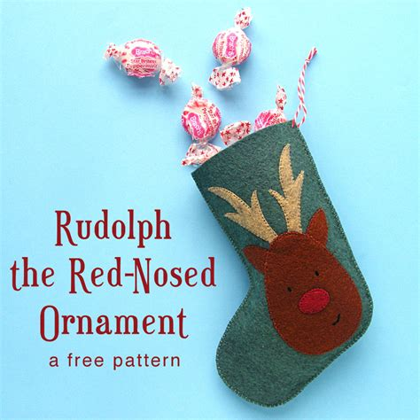 christmas pattern rudolph  red nosed ornament