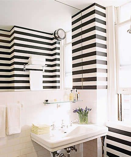Black and White Stripe Bathroom