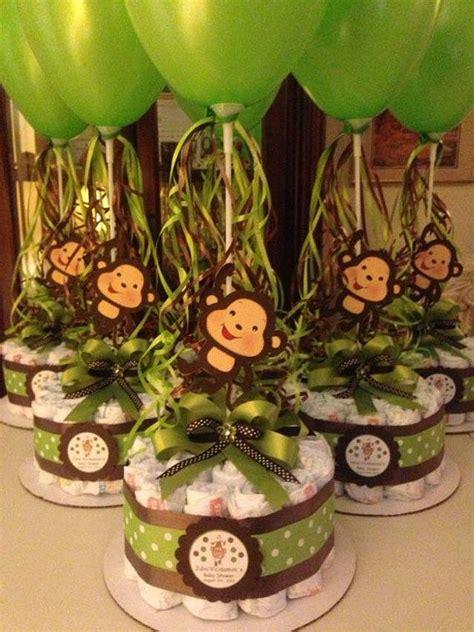 monkey baby shower diapers centerpiece  balloon green