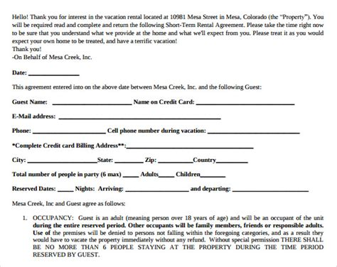 sample short term rental agreements sample templates
