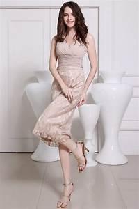 Robe Mi Longue Mariage : robe de soir e de mariage mi longue jupe en dentelle champagne ~ Melissatoandfro.com Idées de Décoration