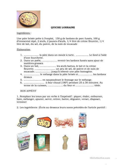recette de cuisine ce1 recette quiche lorraine fiche d 39 exercices fiches