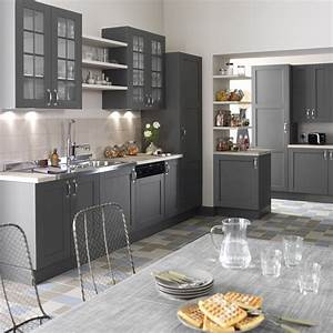 Meuble de cuisine gris delinia nuage leroy merlin for Meuble de salle a manger avec credence cuisine gris anthracite