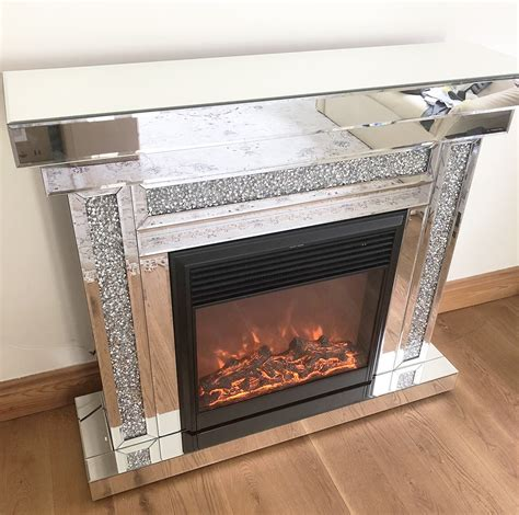 mirrored crushed diamond fireplace electric fire